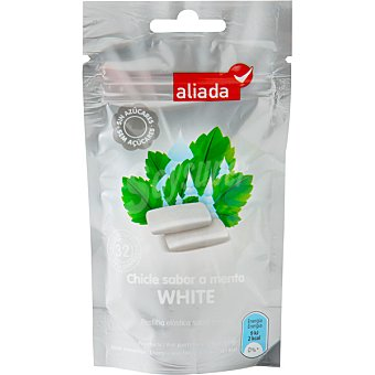 Aliada Chicles con sabor a menta blanqueadora sin azúcar 32 unidades bolsa 45 g 32 unidades