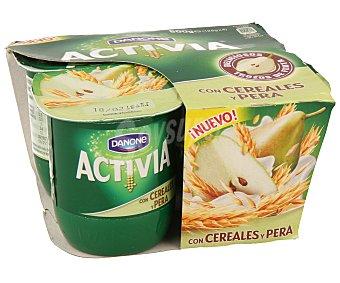ACTIVIA de DANONE Yogur con bífidus, cereales y pera 4 unidades de 125 gramos