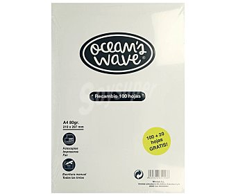 OCEAN´S WAVE Recambio de tamaño DIN-A4, liso y con 120 hojas de ocean´s wave 80 g