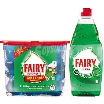 FAIRY detergente máquina liquido para la ropa + lavavajillas a mano concentrado regular botella 433 ml envase 15 capsulas