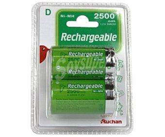 Auchan Pilas recargables D HR20 ni-mh 2500 mah 2 unidades