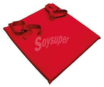 AUCHAN Cojín para silla, color rojo liso, modelo Panama, 40x40 centímetros 1 Unidad