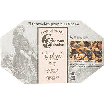 CONSERVAS DE CAMBADOS chipirones rellenos en su tinta 6-8 piezas  lata 72 g neto escurrido
