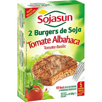 SOJASUN Tomate Albahaca Burgers de soja 2 unidades envase 259 g 2 unidades