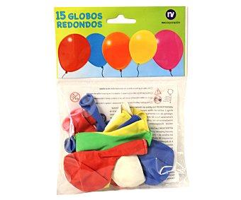 NV CORPORACION Bolsa de 15 globos de colores surtidos Paquete de 15 Unidades