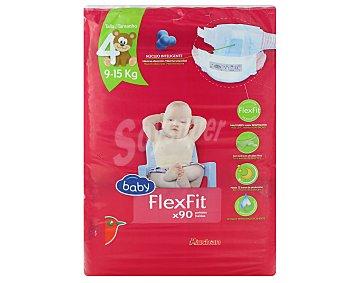 Auchan Pañales talla 4 (9-15 kilogramos) flexfit de 90 unidades