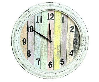 HP Reloj decorativo para jardín, realizado en madera con efecto envejecida y fondo de tablas de diferentes colores, medidas de 34.5 x 5 centímetros 1 unidad