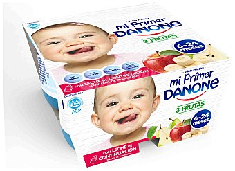 Mi Primer Danone Yogur de 3 frutas 4 unidades de 125 g