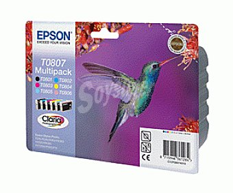 Epson Cartucho Multipack 6 Colores T0807 - Compatible con Impresoras: stylus photo R / 265 / 285 / 360 RX / 560 / 585 / 685 PX / 700W / 800W P / 50