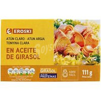 Eroski Atún claro en aceite vegetal Lata 111 g