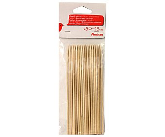 Auchan Pinchos de madera para brochetas, 15 cm 50 unidades