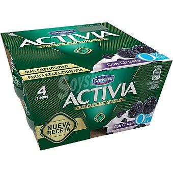 Danone Activia Yogur desnatado con ciruelas 0% materia grasa Pack 4 unidades 125 g