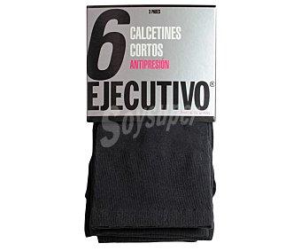 Ejecutivo Pack de 3 pares de calcetines cortos, 40 den, antipresión,, color negro, talla única Pack de 3