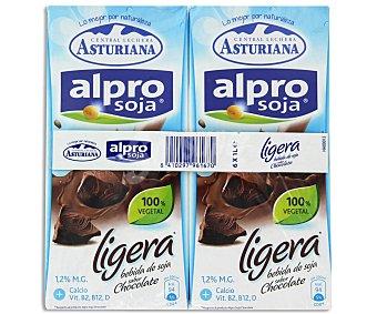 Alpro Asturiana Bebida de soja sabor chocolate ligero Pack 6 u x 1 l