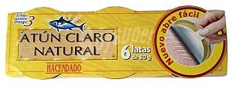 Hacendado Atun claro natural (abre facil solapin) Pack de 6x80 gr