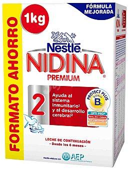 Nidina Nestlé Leche 2 de continuación en polvo Pack 2x500 g