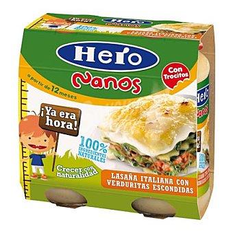 Hero Nanos Lasaña Italiana con Verduritas Escondidas Pack 2x250 g