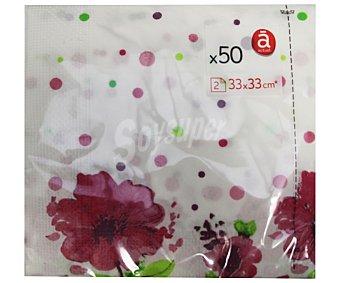 Actuel Servilletas de papel con estampado floral, dos capas, 33x33 centimetros 50 unidades