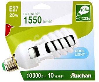 Auchan Bombilla bajo consumo espiral 23 Watios, casquillo E27 (grueso), luz blanca 1 unidad
