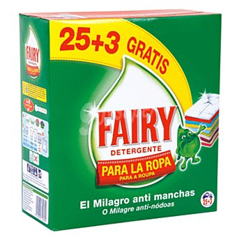 Fairy Detergente máquina polvo maleta 25 + 3 cacitos 25 + 3 cacitos