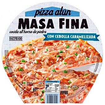 Hacendado Pizza congelada de atún con cebolla caramelizada masa fina Paquete 400 g