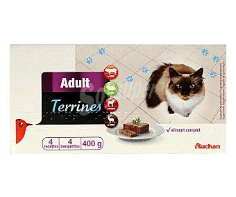 Auchan Comida Húmeda para Gato. Surtido Carne Pack 4 Tarrinas de 100 Gramos