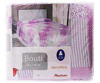 Auchan Boutí infantil con estampado Patchwork en tonos lilas, 195x270 centímetros 1 unidad