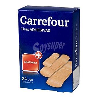 Carrefour Tiras adhesivas color piel varios tamaños 24 ud