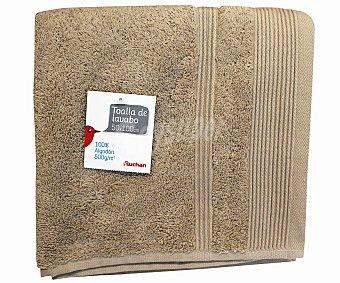 Auchan Toalla 100% algodón lisa para lavabo, color beige, 50x100 centímetros, densidad de 50 gramos/m² 1 Unidad