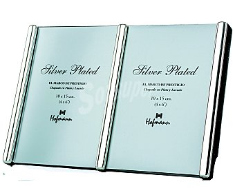 HOFMAN Marco portafotos de metal con marco doble en acabado plateado 1 Unidad