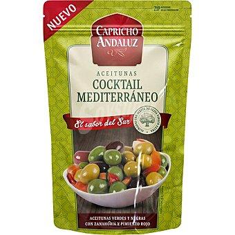 Capricho Andaluz Cóctel de aceitunas verdes y negras con zanahoria y pimiento rojo aliñadas con aceite de oliva Bolsa 160 g neto escurrido