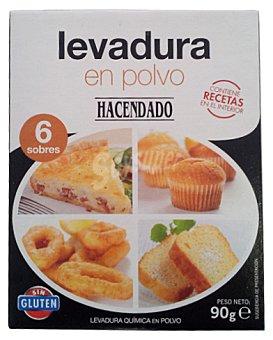 Hacendado Levadura polvo 6 sobres Paquete 90 g