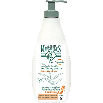 Le Petit Marseillais Loción hidratante con Savia de Aloe Vera & Caléndula hipoalergénica dosificador 400 ml repara y alivia para piel sensible y muy seca Dosificador 400 ml