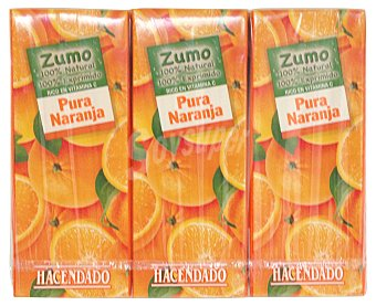 Hacendado Zumo naranja exprimida 100% (sin azucar) 3 x 200 cc