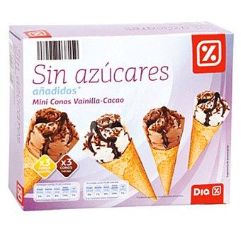 DIA Helado mini cono vainilla/cacao sin azúcares añadidos caja 6 uds 230gr Caja 6 uds 230gr