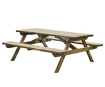 FOREST Mesa rectangular modelo Picolo, fabricada en madera de pino FSC mixto 0602, con espesor de 3.2 centímetros, medidas: 150x151 centímetros con bancos incorporados, ideal para 6 personas 1 unidad