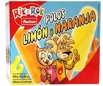 Rik&Rok Auchan Polo Hielo de Limón y Naranja Pack de 10 Unidades de 65 Mililitros