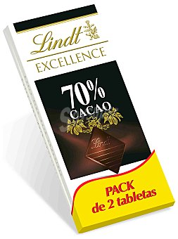 Lindt - Excellence Tableta de chocolate negro 70% cacao 2x100 g