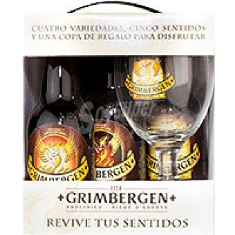 Grimbergen Cerveza Pack 4x33 cl + Copa