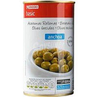 Eroski Basic Aceitunas rellenas de anchoa Pack 2x150 g