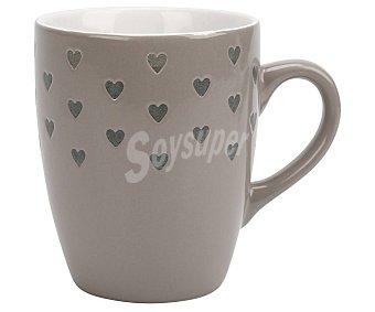 Gers Taza alta de gres color gris con corazones, , Charme gers 0,35 litros