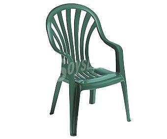 PLASMIR Silla fija aplilable para jardín. Fabricada en resina monobloc de color verde, con respaldo alto y asiento con altura de 42 centímetros 1 unidad