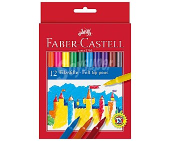 Faber Castell Estuche de 12 rotuladores redondos con gran gama de colores, colores brillantes con punta robusta, lavable en casi todo tipo de tejidos, faber-castell.