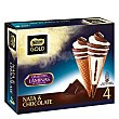 Cono de helado de nata y chocolate con crujientes laminas de chocolate estuche 440 ml 4 unidades Gold Nestlé