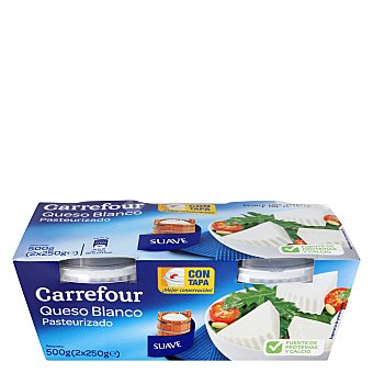 Carrefour Queso blanco pasteurizado natural Pack de 2x250 g