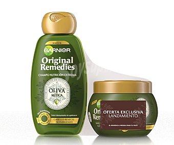Garnier Champú nutrición extrema con aceite de oliva virgen para cabello reseco y sensibilizado (nutre intensamente sin apelmazar) más su mascarilla acondicionadora 400 mililitros