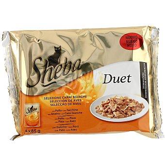 Sheba Duet selección de aves en bocaditos con mousse  4 bolsas de 85 g