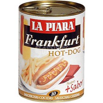 LA PIARA Frankfurt hot dog salchichas cocidas Lata 250 g neto escurrido