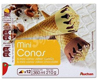 Auchan Mini Cono 2 Sabores: Vainilla y Chocolate Pack 12 Unidades de 30 Mililitros