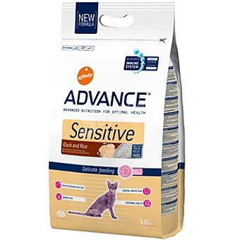 Advance Affinity Alimento de alta gama para gatos con sensibilidad digestiva rico en pato y arroz Sensitive Bolsa 3 kg